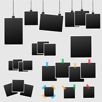 Big set of square vector photo frames on sticky tape. Vertical and horizontal template photo design