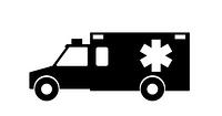 Black and White Emergency Ambulance with Siren Flat Design. Vector Illustration. EPS10. Emergency Ambulance with Siren Flat Design. Vector Illustration.