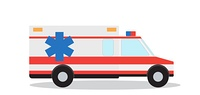 Colored Emergency Ambulance with Siren Flat Design. Vector Illustration. EPS10. Colored Emergency Ambulance with Siren Flat Design. Vector Illus