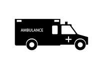 Black and White Emergency Ambulance with Siren Flat Design. Vector Illustration. EPS10. Black and White Emergency Ambulance with Siren Flat Design. Vect
