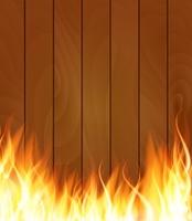 Burning Fire Special Light Effect Flames on Wood Boards Background. Vector Illustration EPS10. Burning Fire Special Light Effect Flames on Wood Boards Backgrou