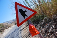 Road sign with a bag of oranges in Alpujarras, Granada, Andalusia, Spain