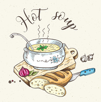 Vintage background with fresh hot soup and bread. Hand drawn vector illustration.. Fresh hot soup and bread