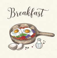 Vintage background with fried eggs, bacon and tomatoes. Hand drawn vector illustration.. Fried eggs with bacon and tomatoes.