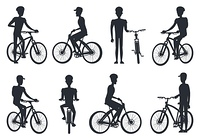 Black Silhouettes of Bicyclist Riding on Bike. Black silhouettes of bicyclist riding on bike, standing near bicyclet, man in helmets and caps set of vector illustrations isolated on white background