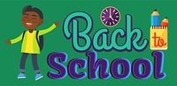 Back to School Sticker with Inscription and Boy. Back to school sticker with inscription and indian boy. Vector illustration of round wall clock, yellow notebook and two graphite pencils behind it