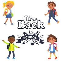 Back to School Time Sticker Surrounded by Pupils. Back to school time black-and-white sticker with inscription. Vector illustration of crossed fountain pen and graphite pencil surrounded by pupils