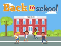 Boys and Girls with Backpacks Standing Near School. Back to school poster with boys and girls with backpacks standing in front of school vector illustration of children hurrying on study