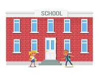 Boy and Girl with Backpacks Running into School. Boy and girl with backpacks running into school building vector illustration isolated on white. Vector illustration of children hurrying on study