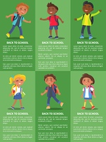Back to School Collection of Posters with Kids. Back to school collection of posters with inscriptions. Isolated vector illustration of school-aged boys and girls on green background