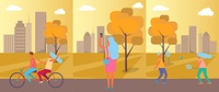 Active People Practising in Park Vector Illustration. Active people practising in autumn city park, cycling couple, woman taking pictures and friends playing badminton vector illustration