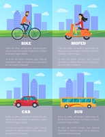 Bike and Moped, Car and Bus Vector Illustration. Bike and moped, car and bus icons, people driving on road to destination, information and title given below, vector illustration on cityscape