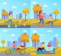Family Activities in Park Vector Illustration. Family activities in autumn park including skating and cycling on double bicycle, reading and relaxing on yoga mat vector illustration