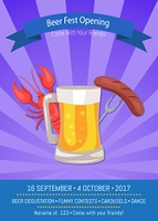 Beer Fest Opening Poster Vector Illustration.. Beer fest opening, invitation poster to oktoberfest event, which includes icon of mug, and snacks such as lobster and sausage vector illlustration