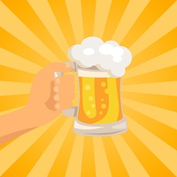 Hand with Traditional Glass of Beer with Foam. Hand with traditional glass of beer with white foam and bubbles vector on background with rays. Light alcoholic beverage in transparent mug with handle