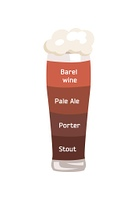 Barrel Wine and Pale Ale Vector Illustrartion.. Barrel wine, pale ale, porter and stout poured in glass with beer foam having different color demonstrated on vector illustration on white background