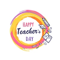Happy Teachers Day Poster Vector Illustration. Happy teachers day promo poster depicting orange circle with icons of books, pen and pencil, vector illustration isolated on white, logo design
