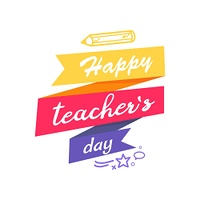 Happy Teacher s Day Icon Vector illustration. Happy Teacher s Day congratulation wish on color fancy doodle. Icon on vector illustration decorated by doodles and pencil isolated on white background