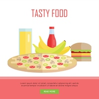 Tasty food concept web banner. Vector in flat design. Illustration of various food and drinks juice, pizza, banana, hamburger, ketchup on white background for cafe, stores, restaurant web pages design.. Tasty Food Concept Web Banner Illustration.. Tasty F
