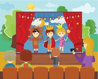 Children in Costumes Performing Theater. Three children in costumes performing theater play on stage. Little children dressed as a prince, princess and bear. Theatrical performance at kindergarten or school
