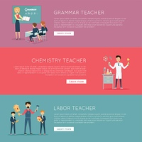 Set of Banners with Different Teaches Professions. Educational concept. Set of banners with different teaches professions. Grammar, Chemistry, Labour. Professional education. Website design template in flat. Banner, landing page. Vector illustration.