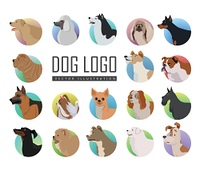 Set of dog vector logos in flat design. Pekingese, poodle, huskies, doberman, terrier, bulldog, shepherd, chihuahua, maltese, spaniel dachshund pit bull sharp chow-chow schnauzer illustrations . Set of Dog Vector Logos in Flat Style Design  . Set of Dog V