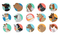 Set of Dog Round Icons. Set of dog round icons. Dog breed set. Different type of dogs. Icon collection for dog club, pet clinic and pet shop. Dog avatar. Isolated vector illustration on white background.