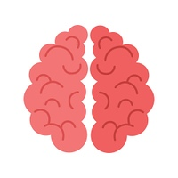 Human Brain Isolated on White Background.. Human brain isolated on white background. Sign of mind in cartoon style. Human anatomy. Mental element. Medicine and science. Brainstorm symbol. Educational concept. Vector illustration in flat style.
