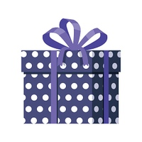 Blue Gift Box with White Dots. Ribbon and Bow. Blue gift box with white dots isolated. Present box with fashionable ribbon and bow. Decorative stylish wrap for presents package. Modern packing product. Gift container web icon sign symbol. Vector