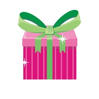 Christmas Pink Gift Box with Green Bow. Christmas pink gift box with green bow isolated. Cartoon present in xmas holiday concept. Gift box surprise for anniversary or birthday. Funny illustration for children holiday celebration. Vector