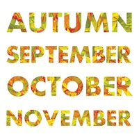 Autumn months vector illustrations. Autumn, september, october, november names colored with fallen leaves of different trees. For nature concepts, calendar prints, seasonally ad and promotions design. Autumn Months Names Vector Illustrations . Autumn Mont