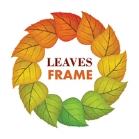 Autumn leaves vector frame. Flat design. Circle from colored tree leaves  with white free space in the centre and sample text. For photo decoration, nature concept, seasonal promotion and ad design. Autumn Leaves Vector Frame in Flat Design  . Autumn Leav