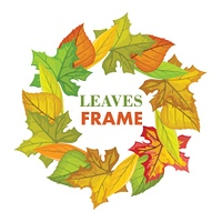 Autumn Leaves Vector Frame in Flat Design. Autumn leaves vector frame. Flat design. Circle from colored tree leaves with white free space in the centre and sample text. For photo decoration, nature concept, seasonal promotion and ad design