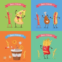 Funny Food for Childish Menu Conceptual Banner.. Best friends sausage pizza chicken hot dog soda cola fries cartoon characters. Funny food for childish menu conceptual banner. Meal having fun concept. Dancing happy meal. Vector design illustration