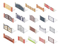 Set of gates and fences vectors. Isometric projection. Collection of metal, wrought iron, lattice and wooden gates and fences for yard. For gaming environment, app, web design. Isolated on white. Set of Gates and Fences In Isometric Projection. Set of Gat