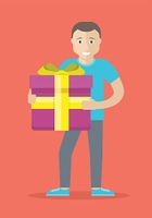 Man With Gift Box Flat Design Vector Illustration. Giving present concept. Smiling man standing with gift box decorated ribbon and bow flat vector illustration isolated on red background. Birthday, valentine, christmas celebrating. For greeting card. Man