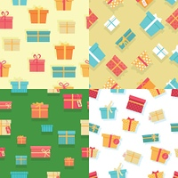 Seamless Pattern Gift Boxes with Ribbons and Bows. Seamless pattern with colorful gift boxes with fashionable ribbons and bows isolated. Present. Decorative stylish wrap for presents package. Modern packing product. Gifts web icon sign symbol. Vector