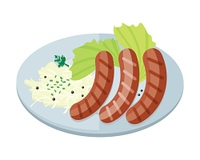 Bavarian Sausages with Pasta and Lettuce on Plate. Bavarian sausages with pasta and lettuce on plate isolated. Three sausages with fried egg and lettuce salad in flat style design. Stylish snack. Nutrition lunch. Tasty breakfast. Vector illustration