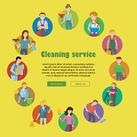 Cleaning Service Icon Set. Cleaning service round icon set. Man and woman with cleaning equipment and detergent. House cleaning service, professional office cleaning, home cleaning illustration. Website template.