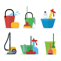Set of Cleaning Equipment. Set of Cleaning Equipment bucket, mop, sponge, rag, detergent, vacuum cleaner, shovel. House cleaning service, professional office cleaning, domestic cleaning service illustration Icon set in flat