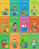 Set of House Cleaning Banners. Set of house cleaning banners. Man and woman with cleaning equipment and detergent. House cleaning service, professional office cleaning, home cleaning illustration in flat. Vertical website template