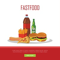 Fast Food Banner Isolated on White Background. Fast food banner isolated on white background. Unhealthy food. Consumption of high-calorie nourishment junk food. Part of series of promotion healthy diet and good fit. Vector illustration