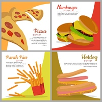 Set of banners with unhealthy food. Junk food.. Set of banners with unhealthy food. Pizza Hamburger French Fries Hot dog. Junk food. Consumption of high calories nourishment fast food. Part of series of promotion healthy diet and good fit. Vector