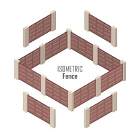Lattice Fence and Gate with Columns Isolated. Lattice fence and gate with columns isolated on white. Gate with sliding system. Isometric projection. Metal and wooden gates and fences for yard in flat style design. Vector illustration