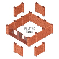 Iron Fence with Brick Columns Isolated on White. Iron fence with brick columns isolated on white. Gate with wicket in flat style design. Isometric projection. Metal gates, wrought iron, lattice gates and fences for yard. Vector illustration