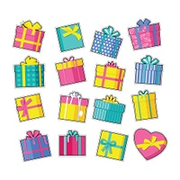 Set of Colorful Gift Boxes. Set of colorful gift boxes with fashionable ribbons and bows. Present box. Decorative stylish wrap presents package. Modern packing product. Gifts fashion patch in cartoon 80s-90s comic style