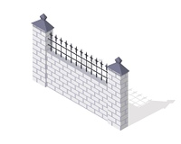 Brick fence section icon. Masonry barrier with lattice and shadow isometric projection vector illustration isolated on white background. For gaming environment, architecture element, app, web design. Brick Fence Section Vector In Isometric Projection. Bri