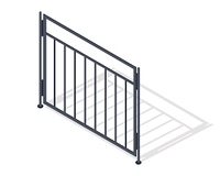 Steel fence section icon. Metal lattice barrier with shadow isometric projection vector illustration isolated on white background. For gaming environment, architecture elements, apps, web design. Steel Fence Section Vector In Isometric Projection. Steel F