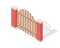 Wooden Fence Vector In Isometric Projection. Wooden farm fence sections with gate from four sides vector illustration in isometric projection isolated on white background. For gaming environment, architecture element, app, web design