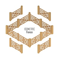 Wooden farm fence sections with gate from four sides vector illustration in isometric projection isolated on white background. For gaming environment, architecture element, app, web design. Wooden Fence Vector In Isometric Projection. Wooden Fence Vector